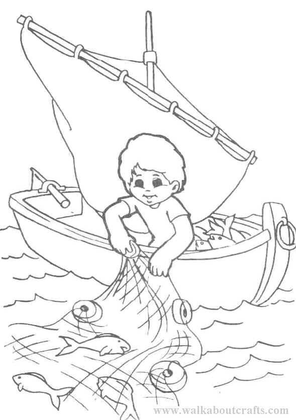 Coloriage Petit Pêcheur Fait Sortir Le Filet avec Dessiner Un Bateau De Peche