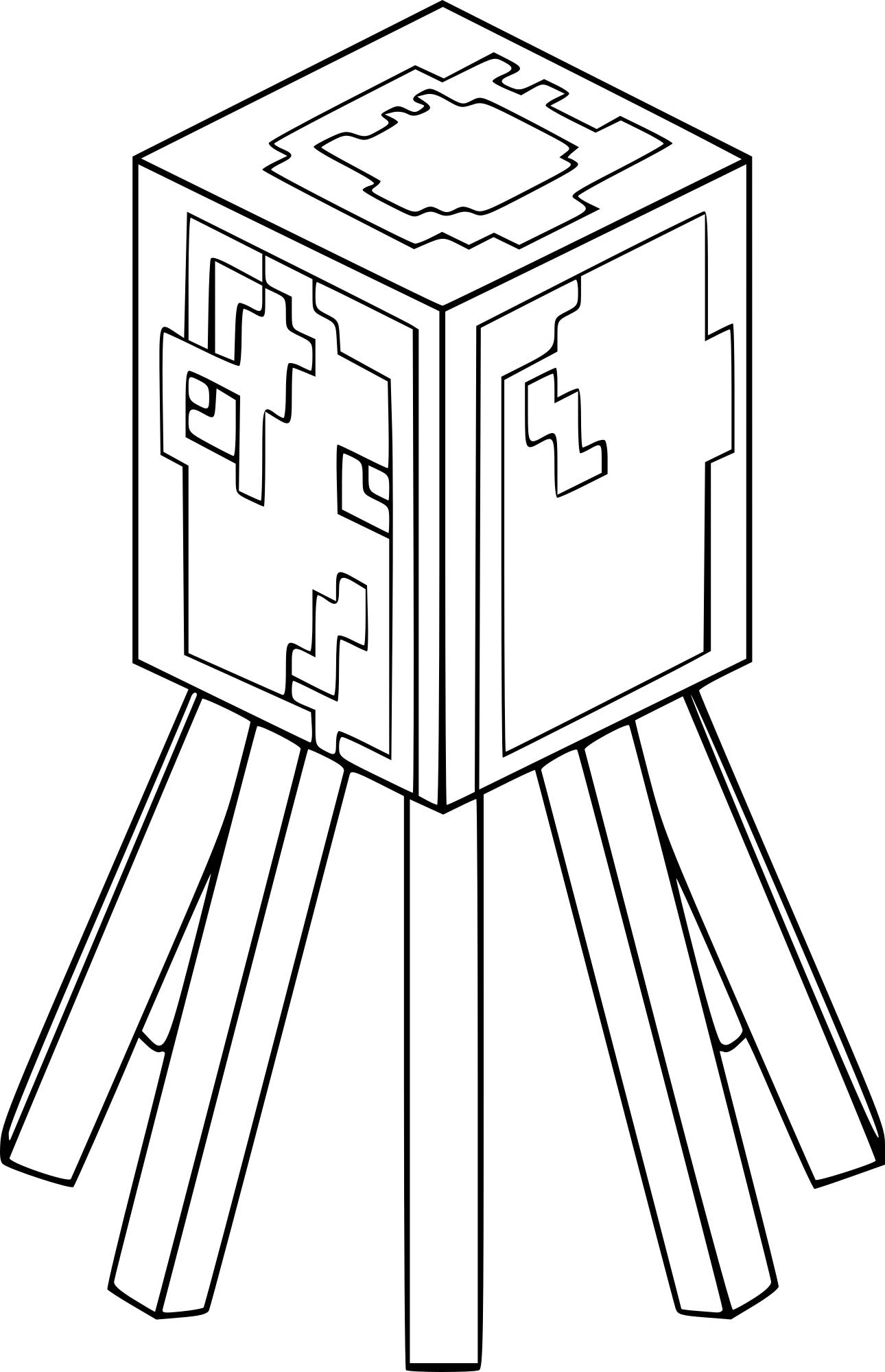 Coloriage Pieuvre De Minecraft À Imprimer concernant Coloriage Minecraft