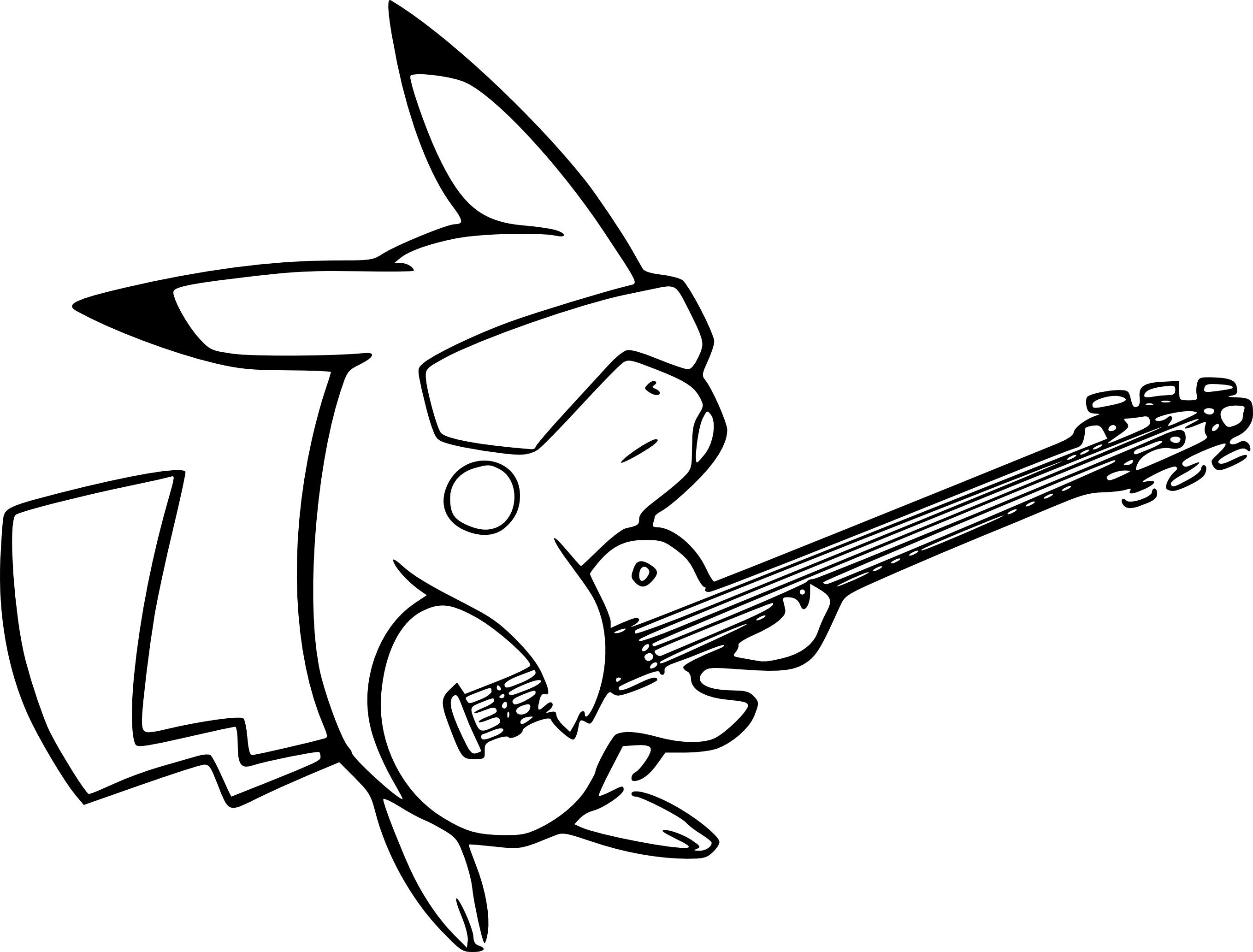 Coloriage Pikachu Avec Une Guitare À Imprimer destiné Coloriage De Pokemon A Imprimer Gratuitement