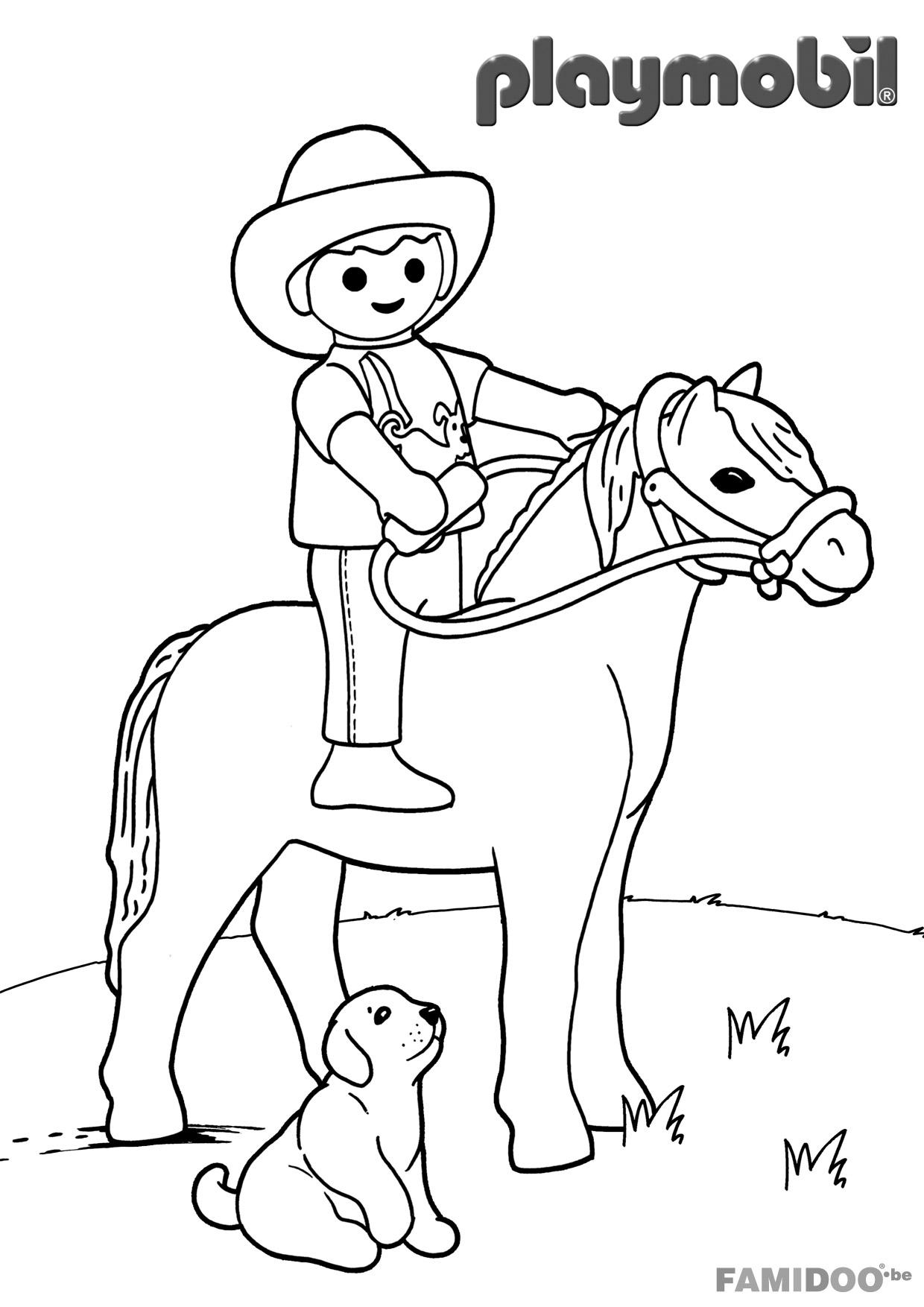 Coloriage Playmobil Cowboy - Coloriage Playmobil serapportantà Colorage Enfant