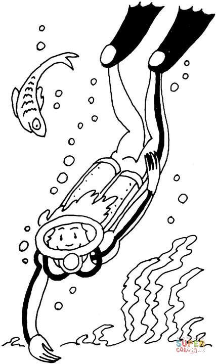 Coloriage - Plongeur | Coloriages À Imprimer Gratuits tout Dessin De Plongeur
