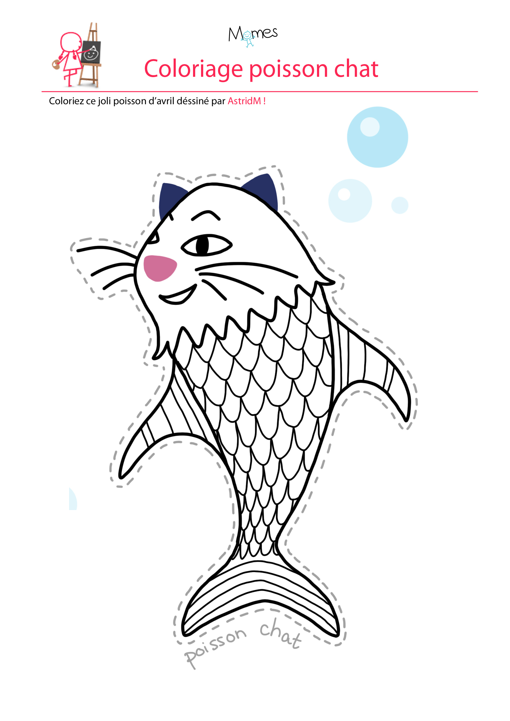 Coloriage Poisson D'Avril : Le Poisson Chat - Momes serapportantà Coloriage De Chat À Imprimer