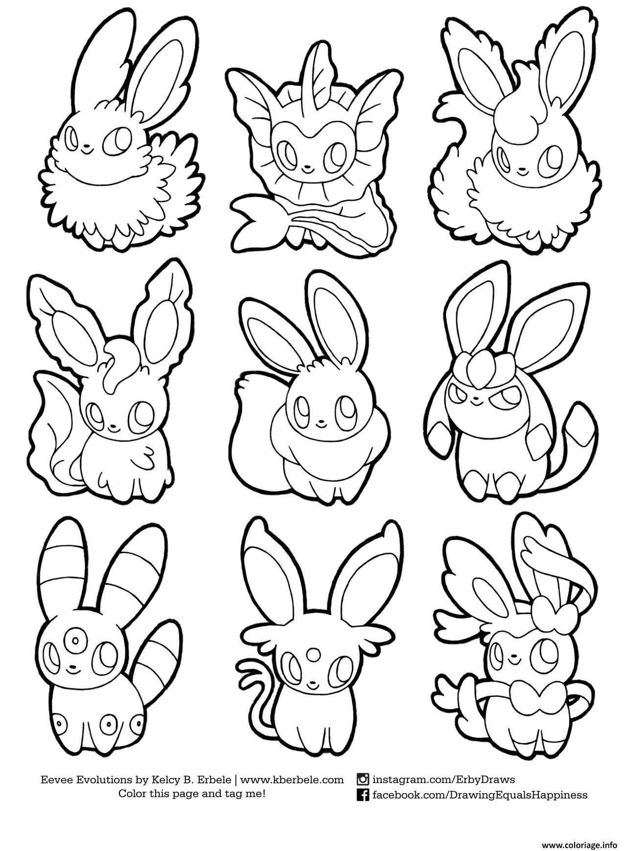 Coloriage Pokemon Eevee Evolutions List Dessin À Imprimer intérieur Coloriage Pokemon Evoli