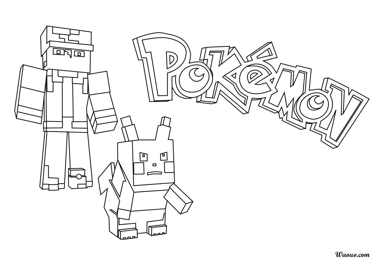Coloriage Pokemon Minecraft À Imprimer Et Colorier à Coloriage Minecraft