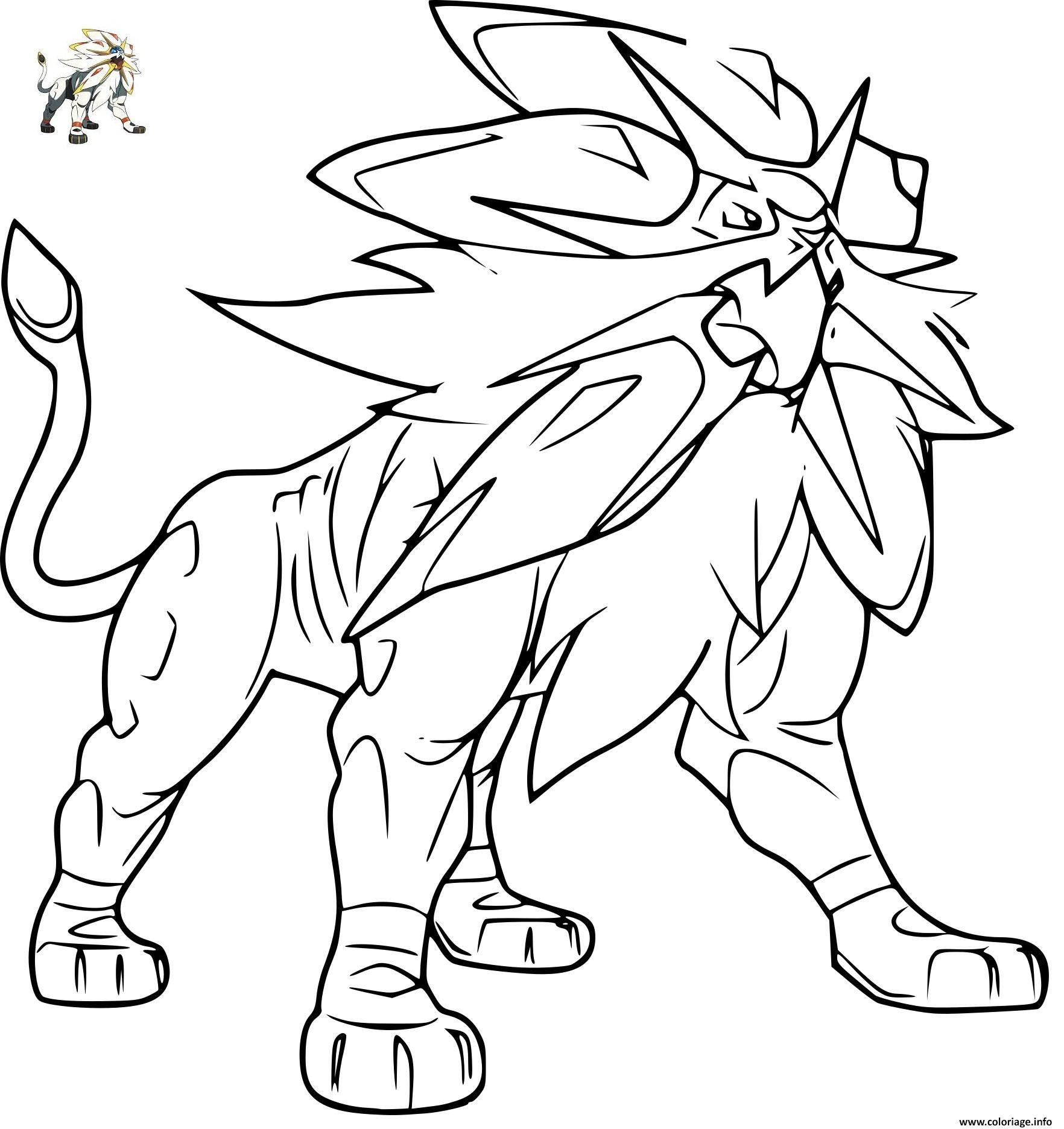 Coloriage Pokemon Solgaleo Gx Dessin À Imprimer | Dessin avec Coloriage A Imprimer Pokemon Legendaire