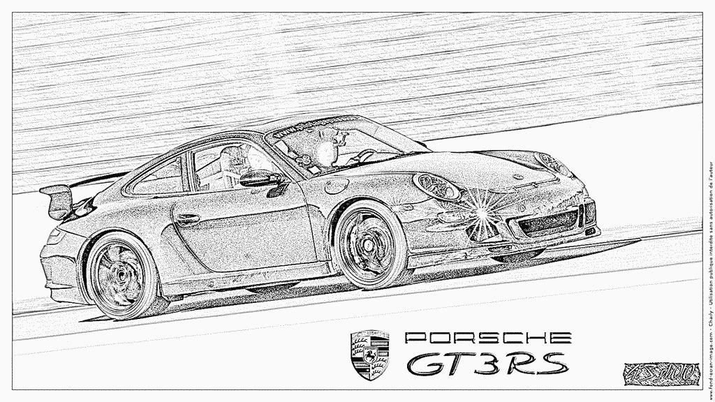 Coloriage Porsche Gt3 Rs Noire À Imprimer Pour Les Enfants destiné Coloriage Porsche A Imprimer