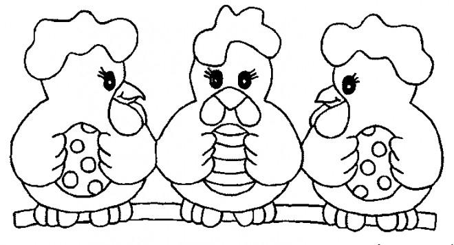 Coloriage Poulets Avec Oeufs Décorés Pour Pâques tout Coloriage Poule De Pâques À Imprimer Gratuit