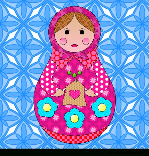 Coloriage Poupée Russe Tricoteuse tout Coloriage Poupée Russe