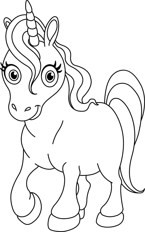 Coloriage Pour Enfant Licorne Avec Unicorn008 Et Dessin avec Dessin Pour Enfant A Colorier
