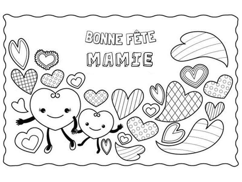 Coloriage Pour Mamie : La Ribambelle De Cœurs à Coloriage Anniversaire Mamie