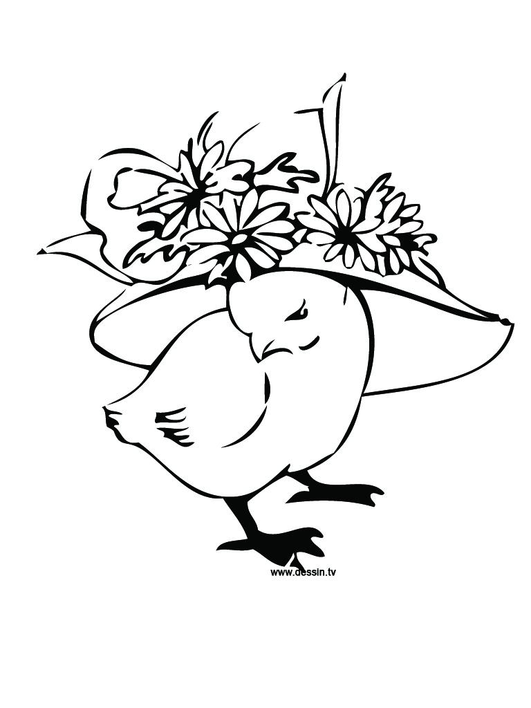 Coloriage Poussin Avec Un Chapeau destiné Poussin En Dessin