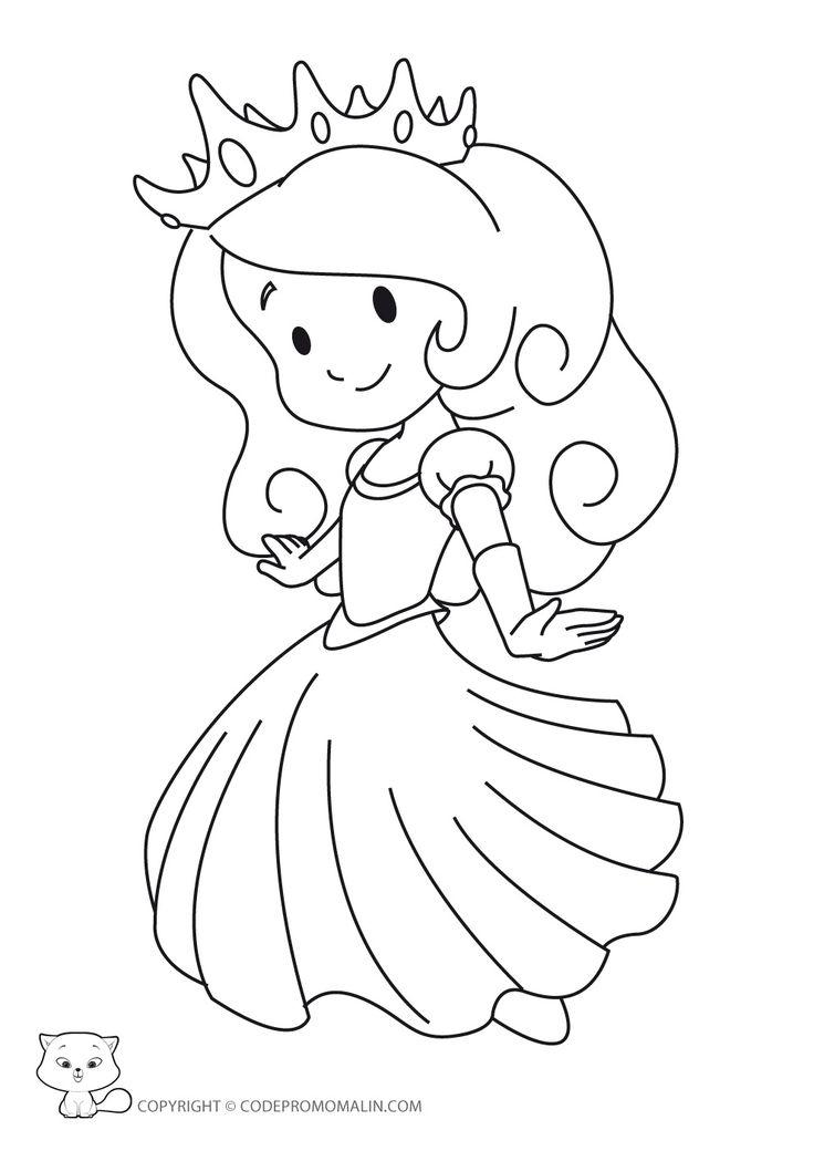 Coloriage Princesse À Colorier - Dessin À Imprimer à Coloriage Facile À Imprimer