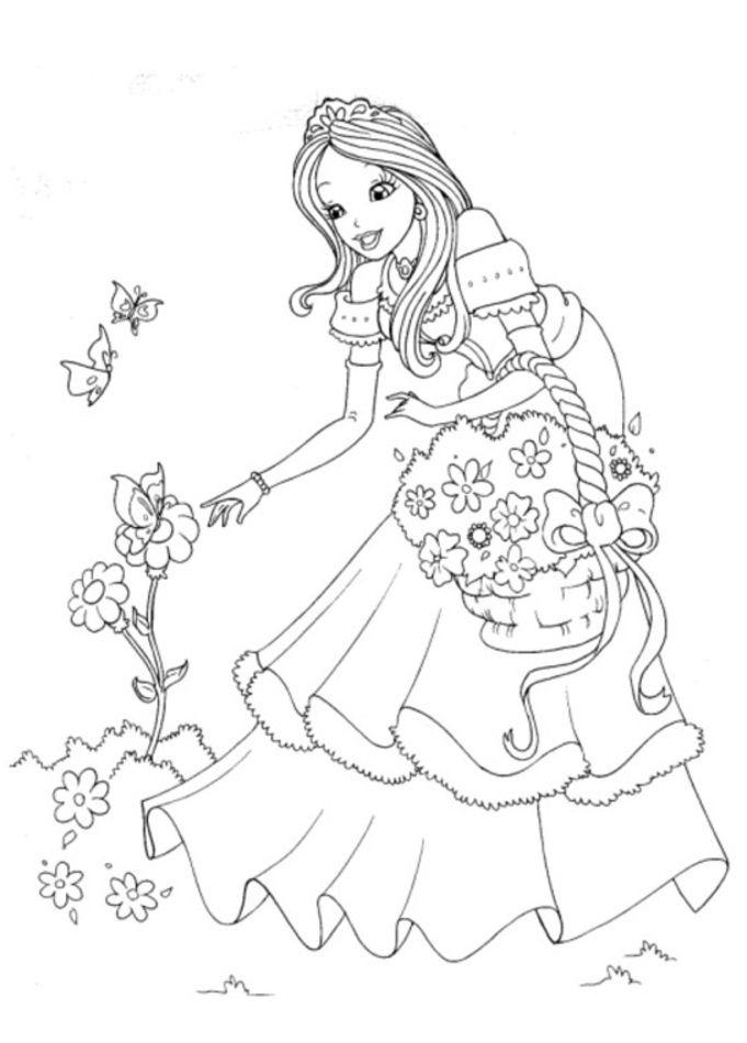 Coloriage Princesse À Colorier - Dessin À Imprimer avec Coloriage A Imprimer Licorne Et Princesse