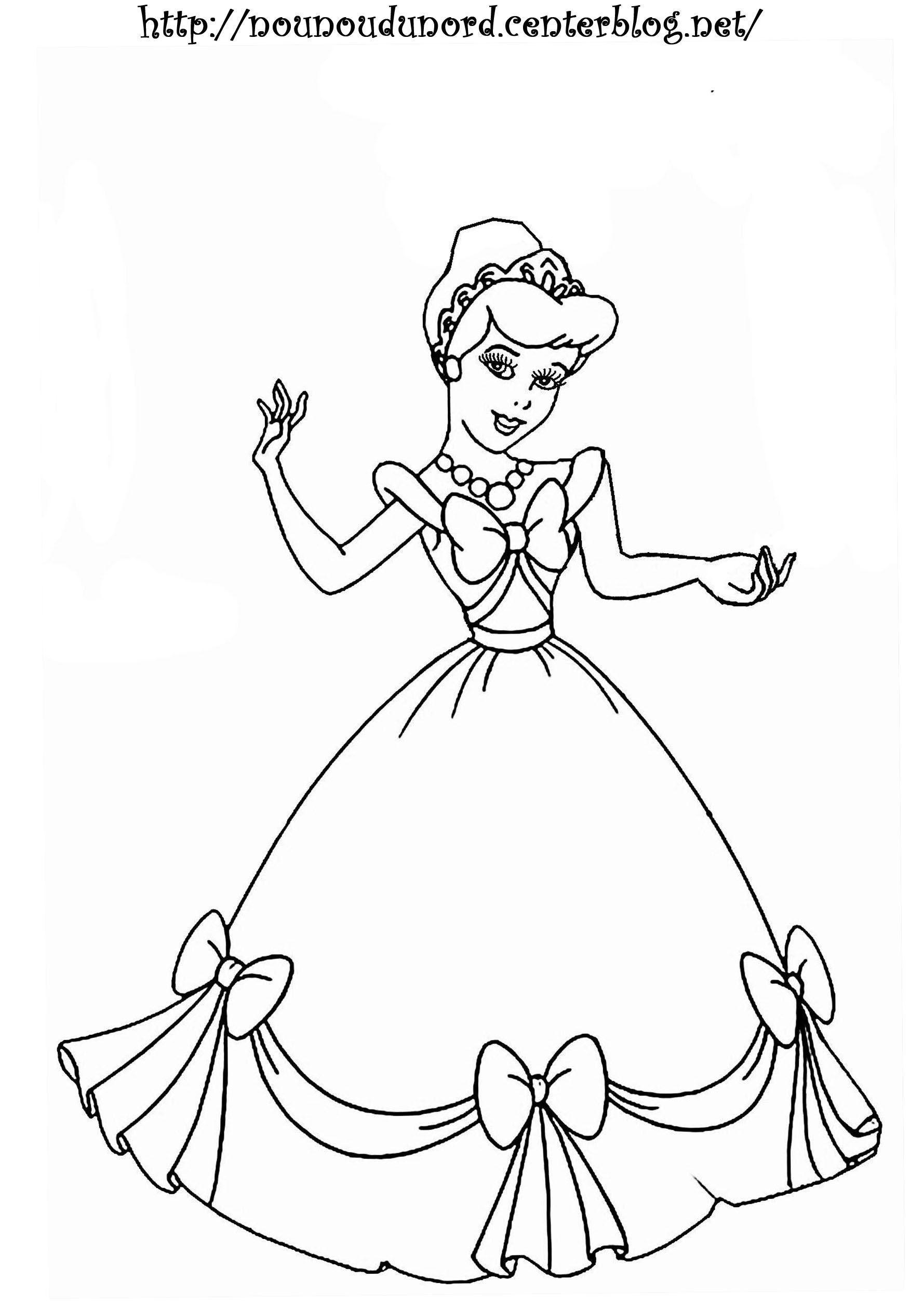 Coloriage Princesse A Imprimer destiné Coloriage De Barbie À Imprimer