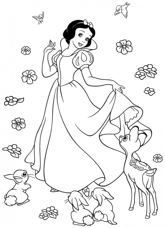 Coloriage Princesse Blanche Neige Entourée Par Des Fleurs tout Coloriage Blanche Neige A Imprimer Gratuit