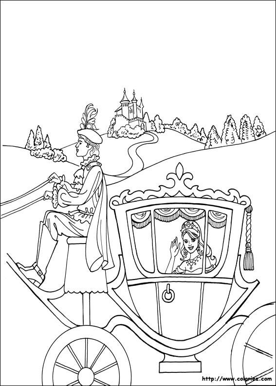 Coloriage Princesse Cendrillon Dans Sa Carrosse Magique pour Dessin Cendrillon A Imprimer Gratuit
