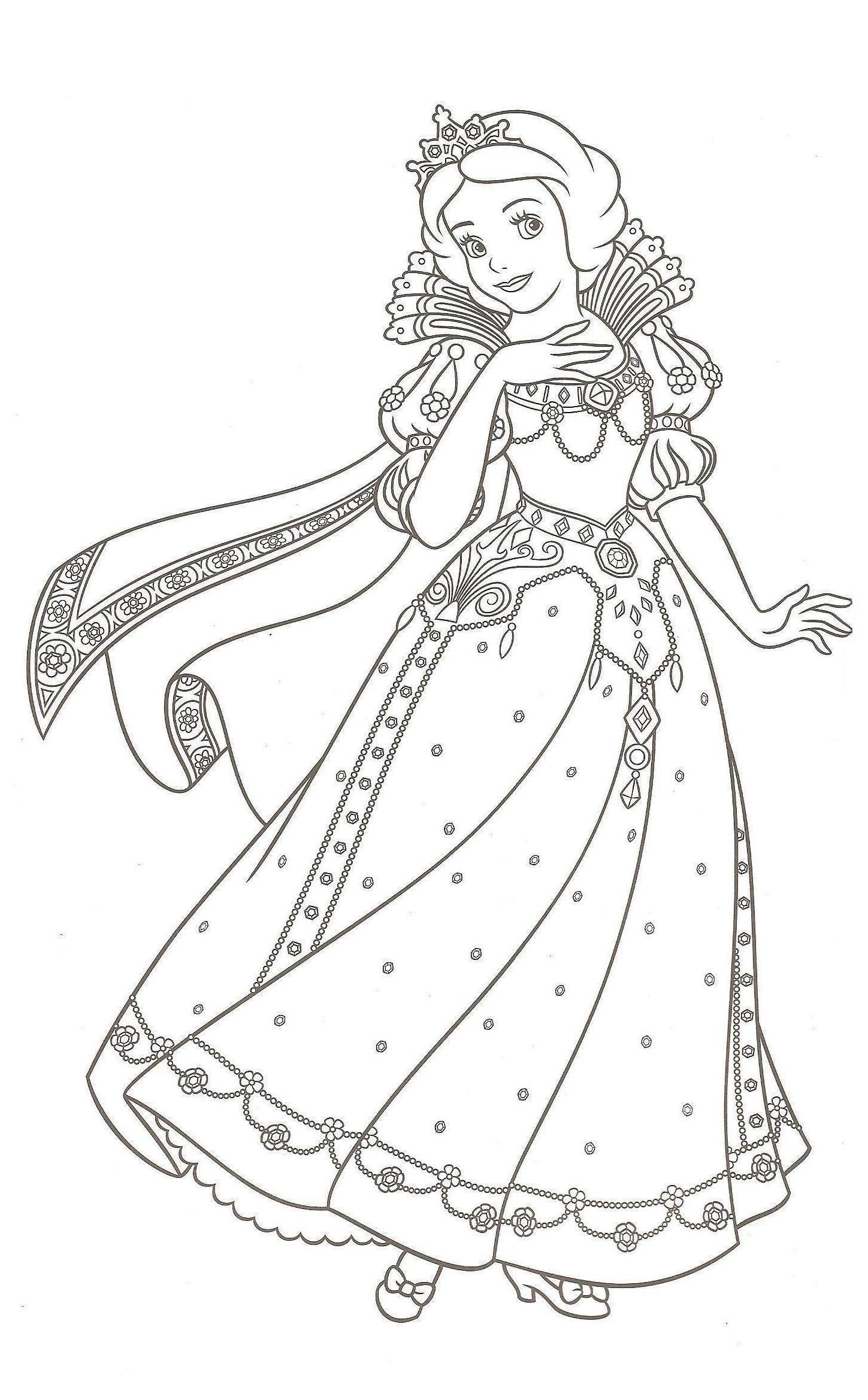 Coloriage Princesse En Ligne Gratuit | Coloriage Blanche destiné Coloriage Princesse Disney