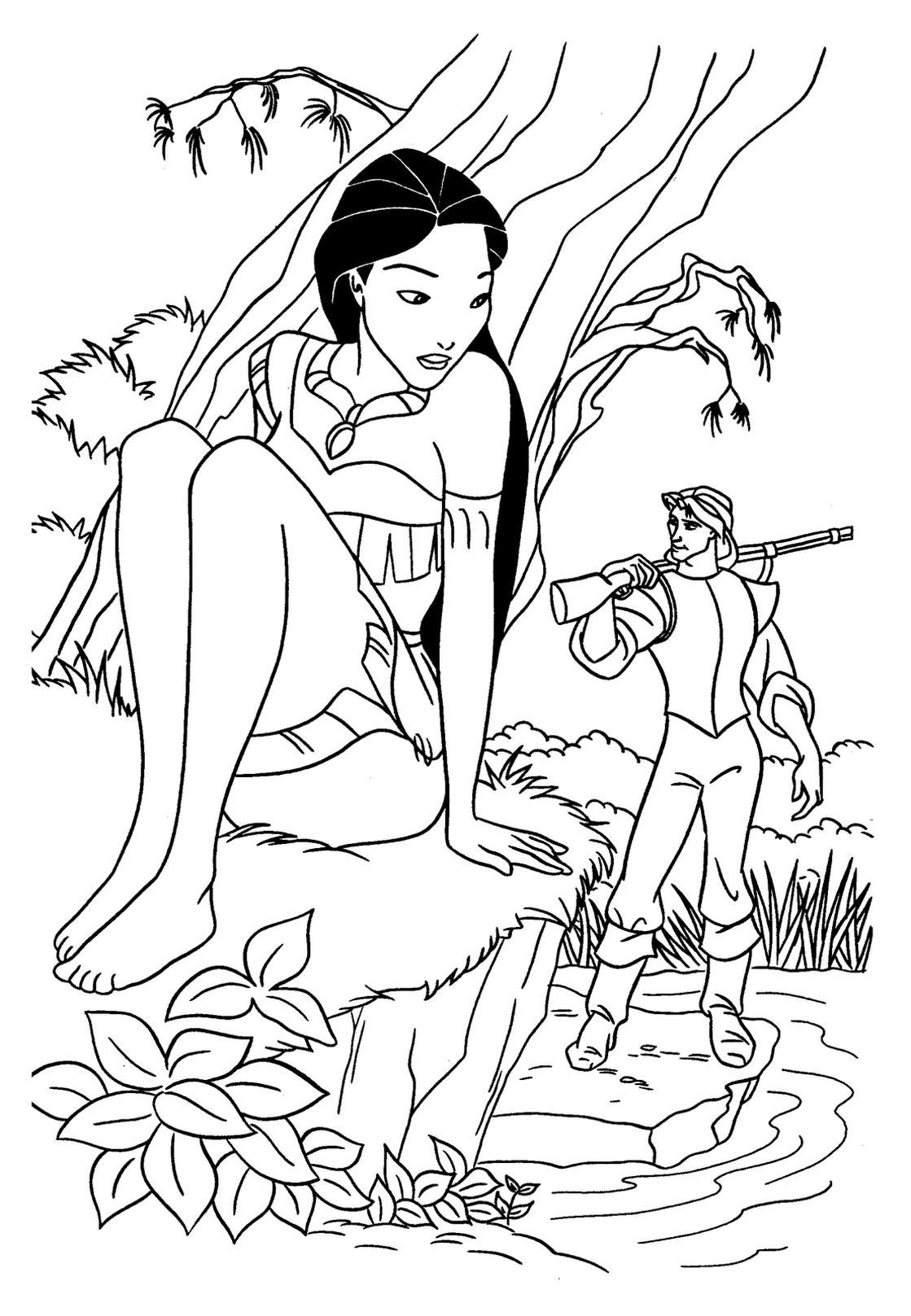 Coloriage Princesse Pocahontas Disney À Imprimer Et Colorier dedans Coloriage Princesse