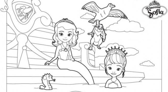 Coloriage Princesse Sofia Avec La Petite Sirène à Coloriage Princesse Ambre