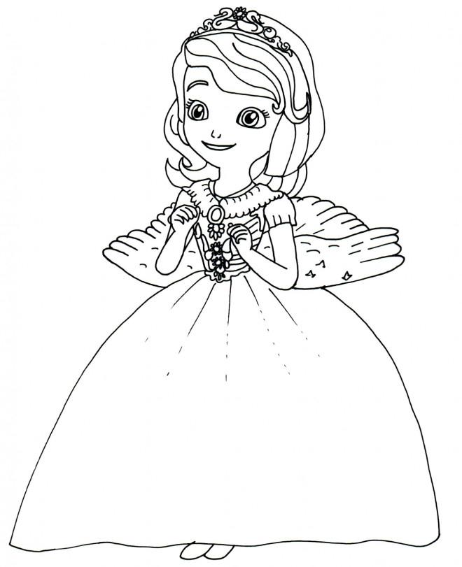 Coloriage Princesse Sofia Est Heureuse Dessin Gratuit À pour Coloriage Princesse Ambre