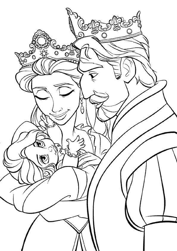 Coloriage Raiponce Avec Ses Parents Dessin Gratuit À Imprimer avec Dessin Princesse Raiponce