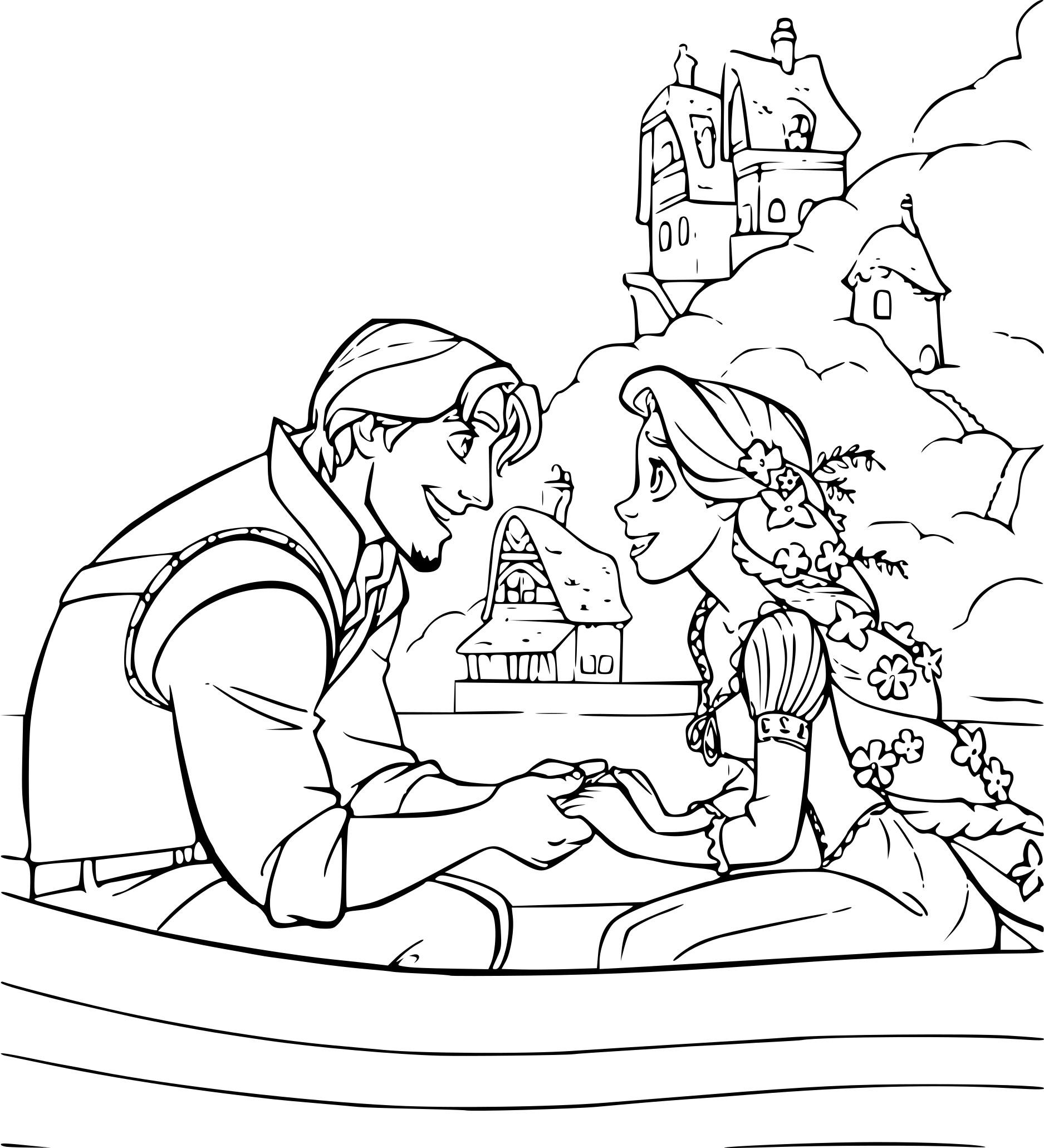 Coloriage Raiponce Et Flynn À Imprimer Gratuit concernant Dessin Princesse Raiponce