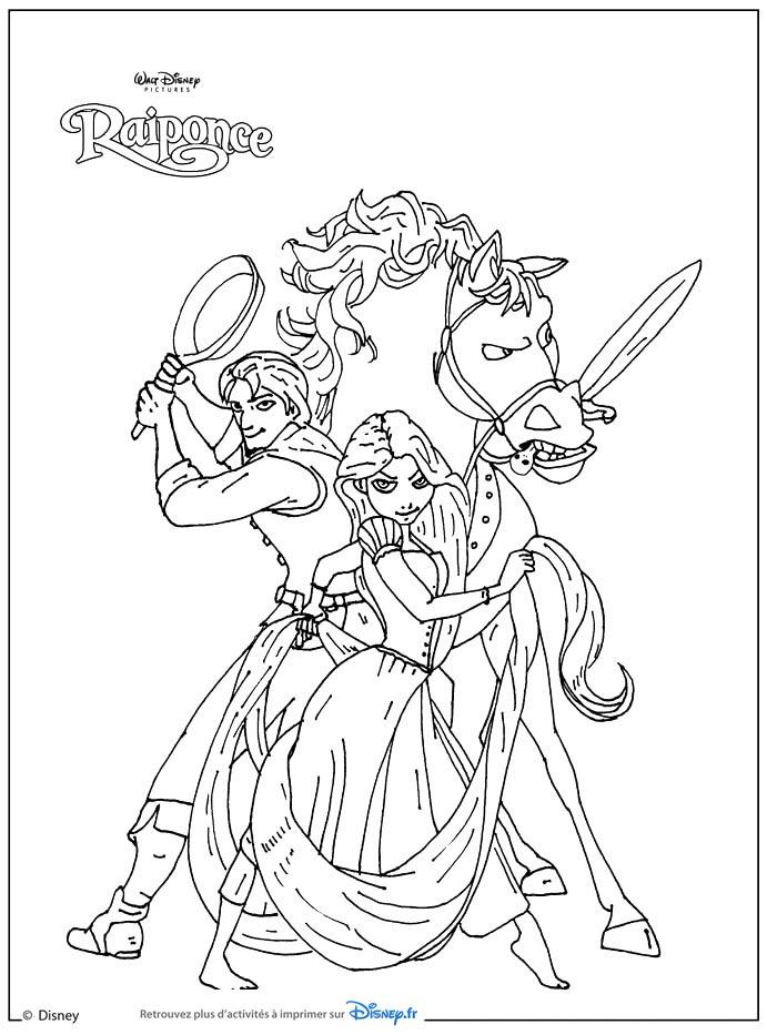 Coloriage Raiponce - Flynn Et Maximus- Coloriages Rapunzel destiné Dessin Princesse Raiponce