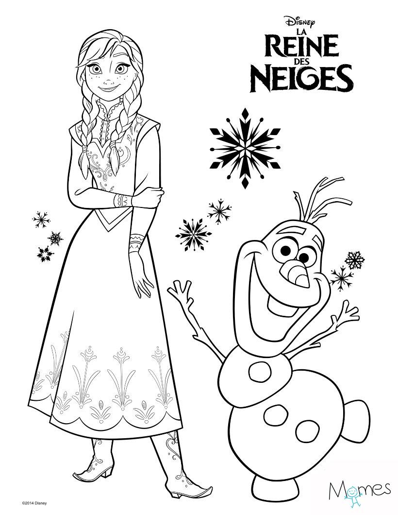 Coloriage Reine Des Neiges : Anna Et Olaf - Momes concernant Coloriage Olaf À Imprimer