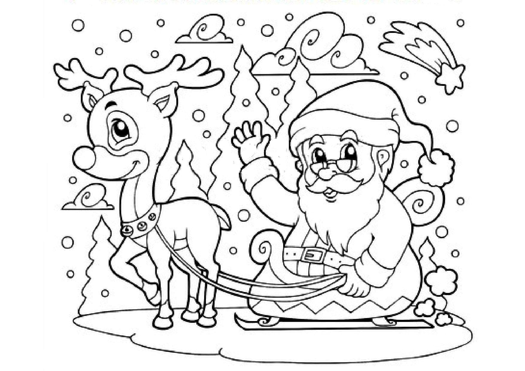 Coloriage - Renne, Traineau Et Père Noël à Coloriage Noe