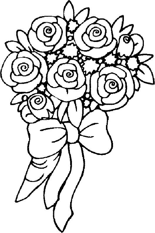 Coloriage Roses Rouges En Bouquet Dessin Gratuit À Imprimer destiné Dessin De Rose A Imprimer