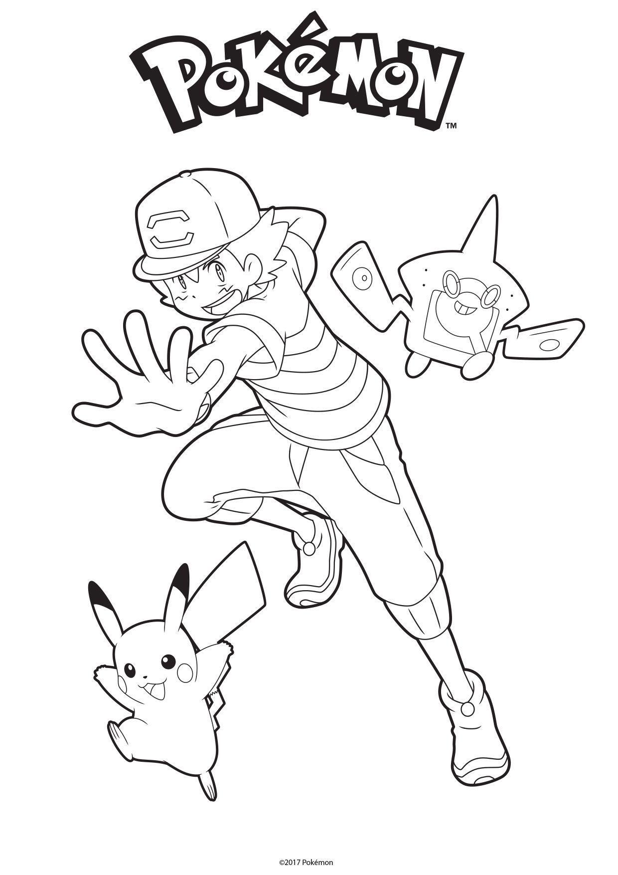 Coloriage Sacha, Pikachu Et Rotom Dex - Coloriage Pokemon intérieur Coloriage A Imprimer Pokemon Pikachu