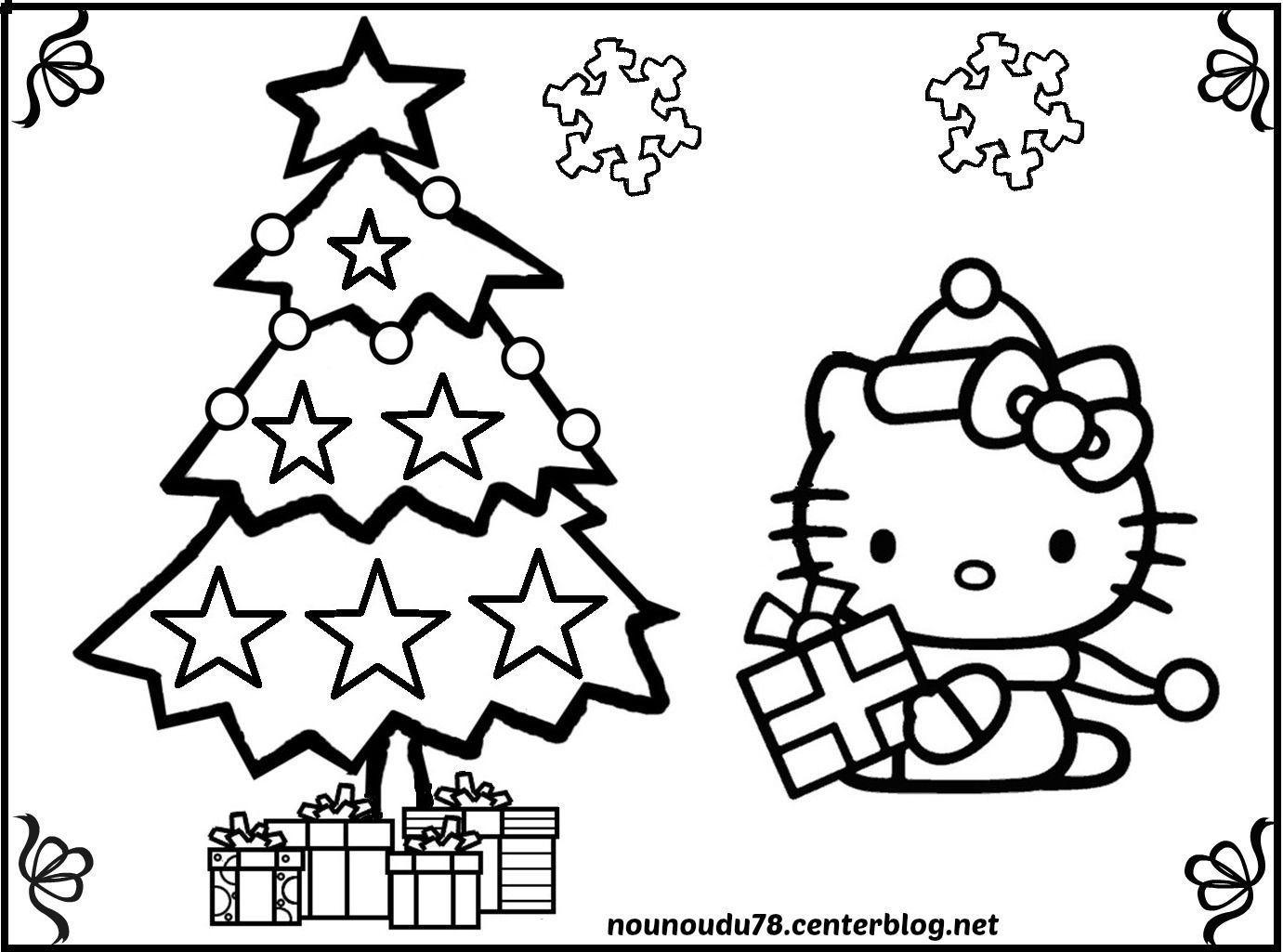 Coloriage Sapin concernant Dessin A Imprimer Hello Kitty