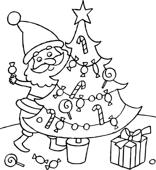 Coloriage Sapin De Noel Et Pere Noel À Imprimer à Coloriage De Sapin De Noel A Imprimer Gratuit