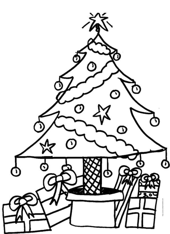 Coloriage Sapin Et Cadeaux De Noël Dessin Gratuit À Imprimer avec Coloriage Cadeau De Noel