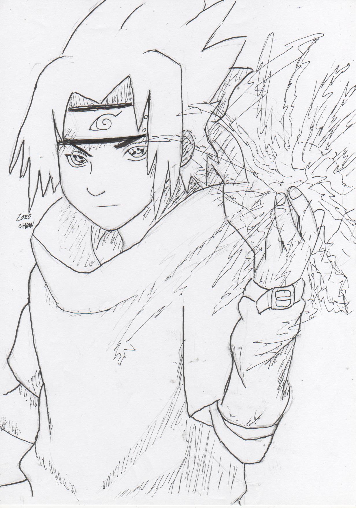 Coloriage Sasuke Sharingan pour Coloriage Naruto Sasuke