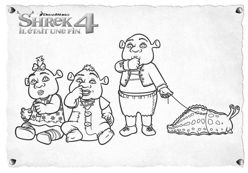Coloriage Shrek Et Sa Famille destiné Coloriage Shrek Et Fiona