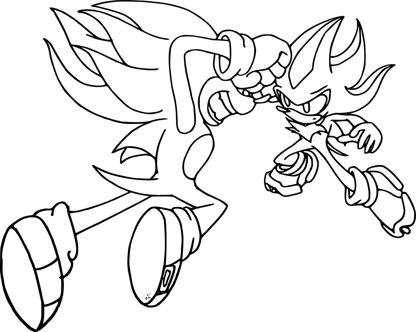 Coloriage Sonic Et Shadow À Imprimer Sur Coloriages avec Sonic À Colorier