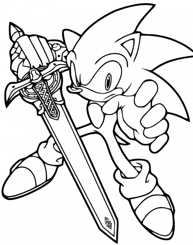 Coloriage Sonic Tient Une Épée Dessin Gratuit À Imprimer avec Coloriage Sonic Le Film