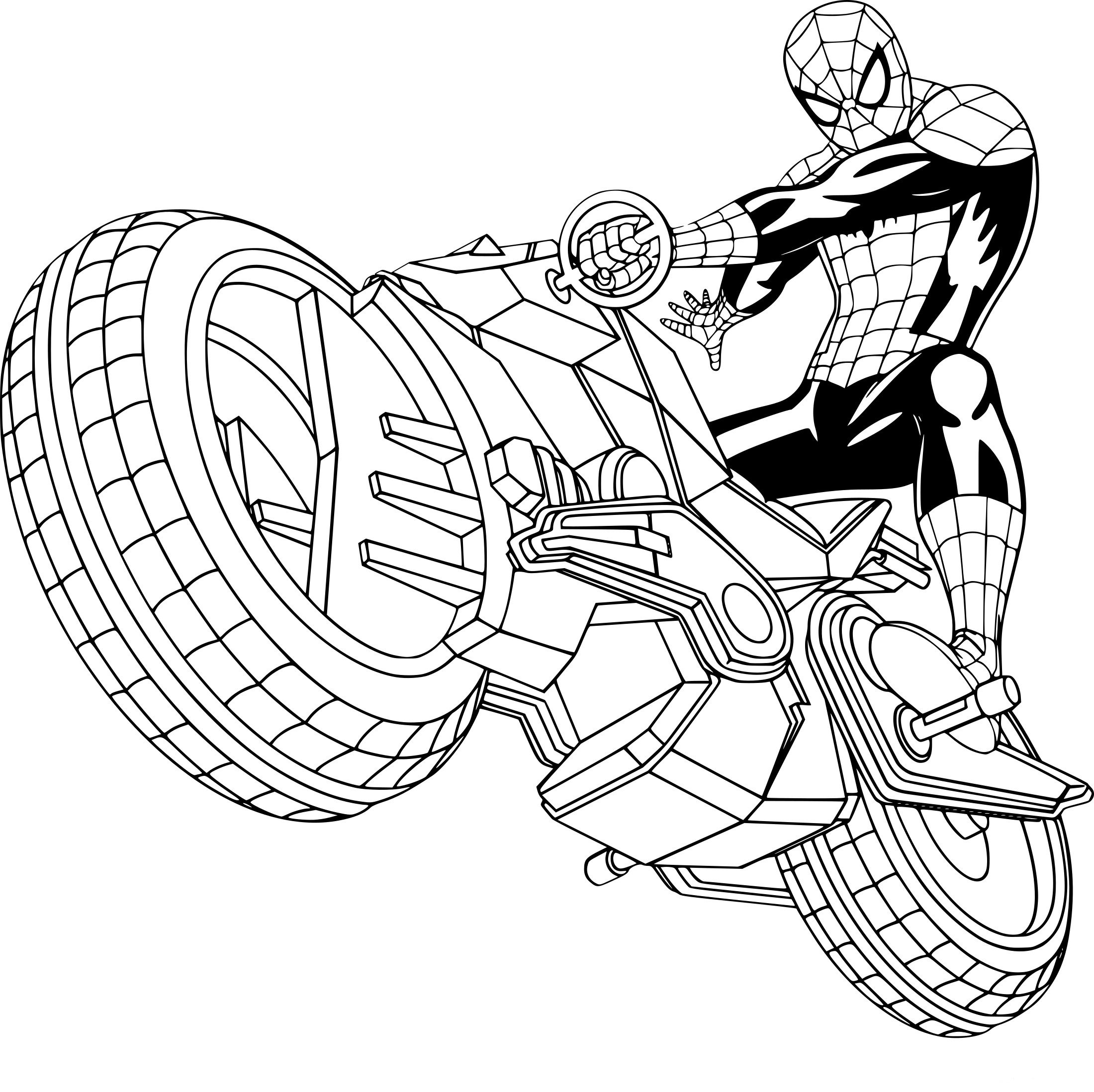 Coloriage Spiderman Moto À Imprimer Sur Coloriages destiné Coloriage Moto - GreatestColoringBook.com