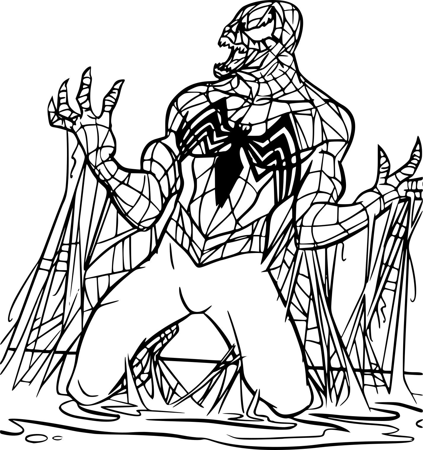 Coloriage Spiderman Noir À Imprimer Sur Coloriages concernant Coloriage Spiderman