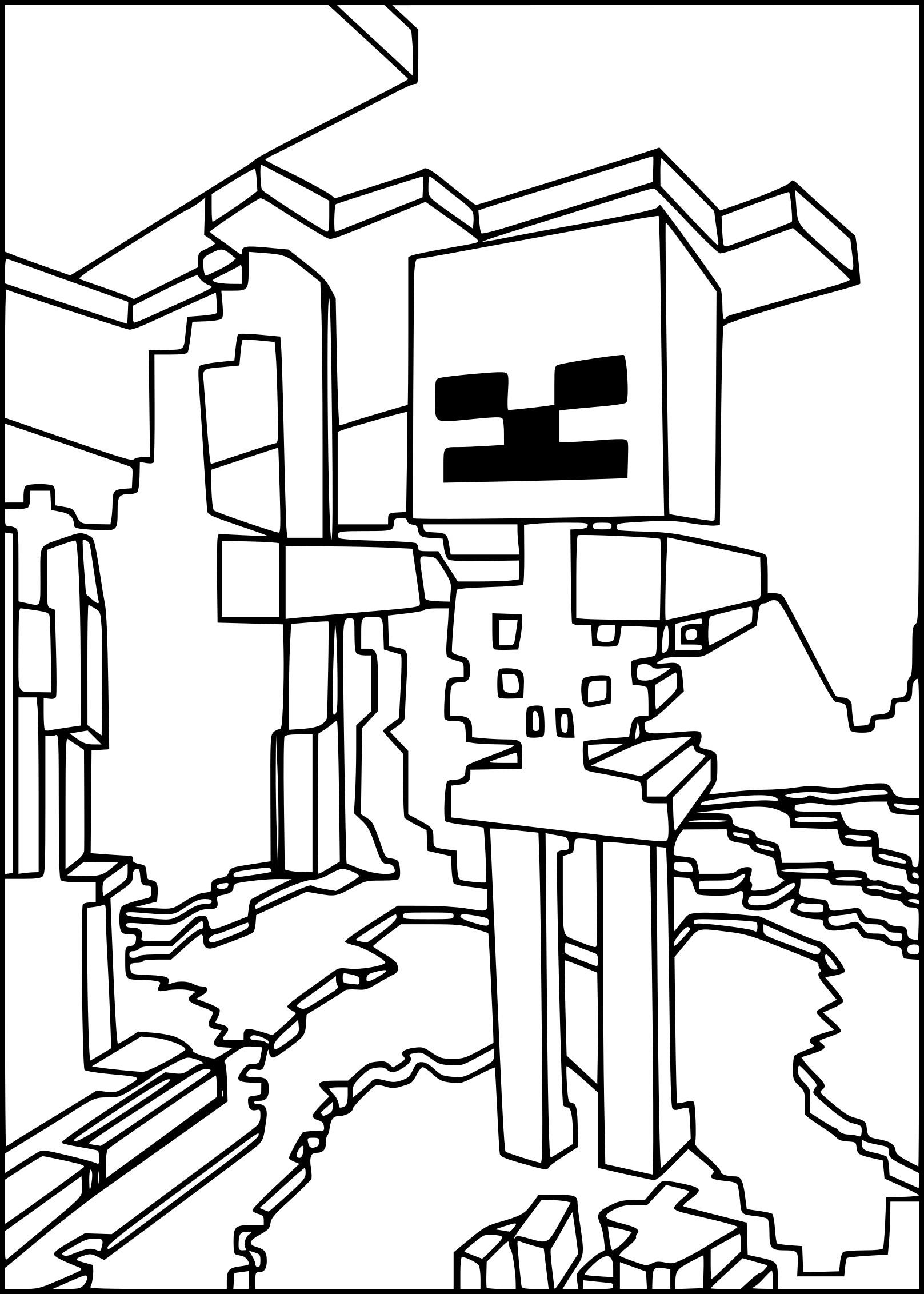 Coloriage Squelette Minecraft À Imprimer dedans Coloriage Minecraft