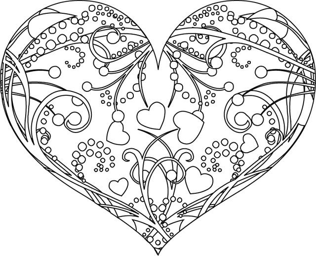 Coloriage St-Valentin Coeur Magnifique Dessin Gratuit À concernant Coloriage Coeur À Imprimer Gratuit