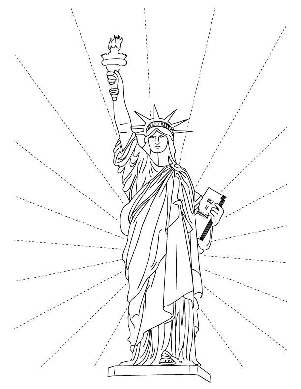 Coloriage Statue De La Liberté Gratuit À Imprimer à Statue De La Liberté Dessin