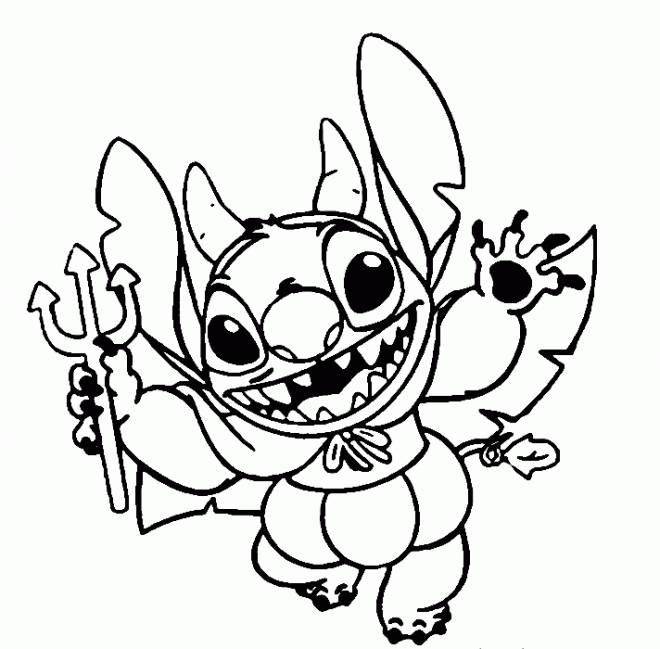 Coloriage Stitch Comme Dible Dans Disney Halloween encequiconcerne Coloriage Lilo Et Stitch A Imprimer Gratuit