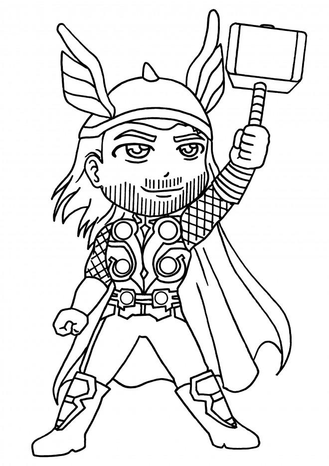 Coloriage Super Héro Thor Dessin Gratuit À Imprimer pour Coloriage Gratuit Hourra Heros