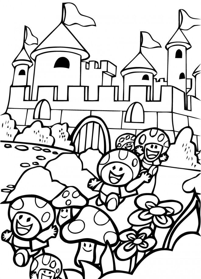 Coloriage Super Mario Bros Les Champignons S'Enfuient avec Dessin De Champignons A Imprimer