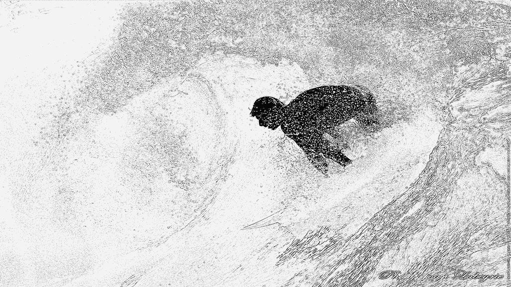 Coloriage Surfeur Dans Une Vague 0237 À Imprimer Pour Les intérieur Dessin Surfeur