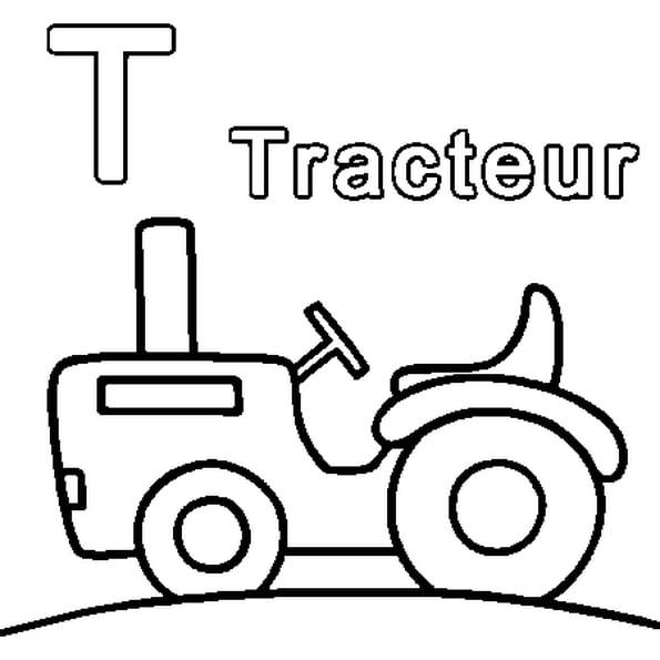 Coloriage T Comme Tracteur En Ligne Gratuit À Imprimer à Dessin D Un Tracteur