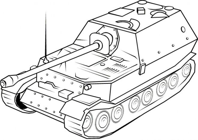 Coloriage Tank En Noir Et Blanc Dessin Gratuit À Imprimer à Dessin De Tank