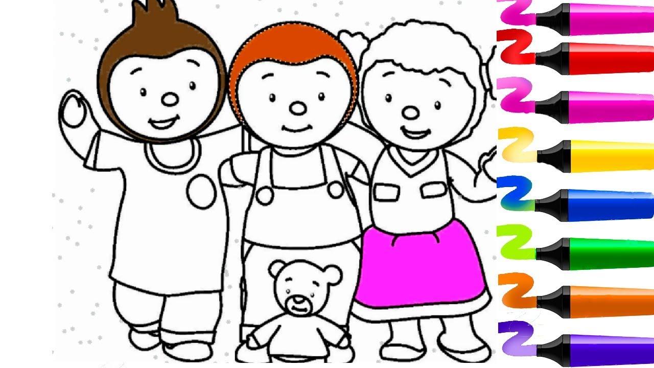 Coloriage Tchoupi Et Ses Amis | Tchoupi A L Ecole | Pas De ...